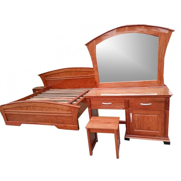Luxurious  3place Bed with 2 Side cupboards  and a  large mirror attached